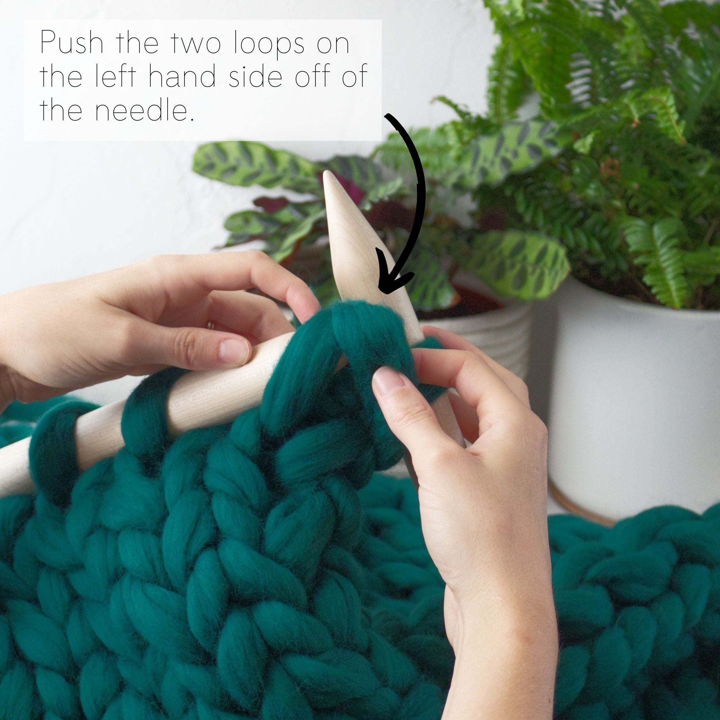 How to make a DIY chunky knit blanket, step 6.5