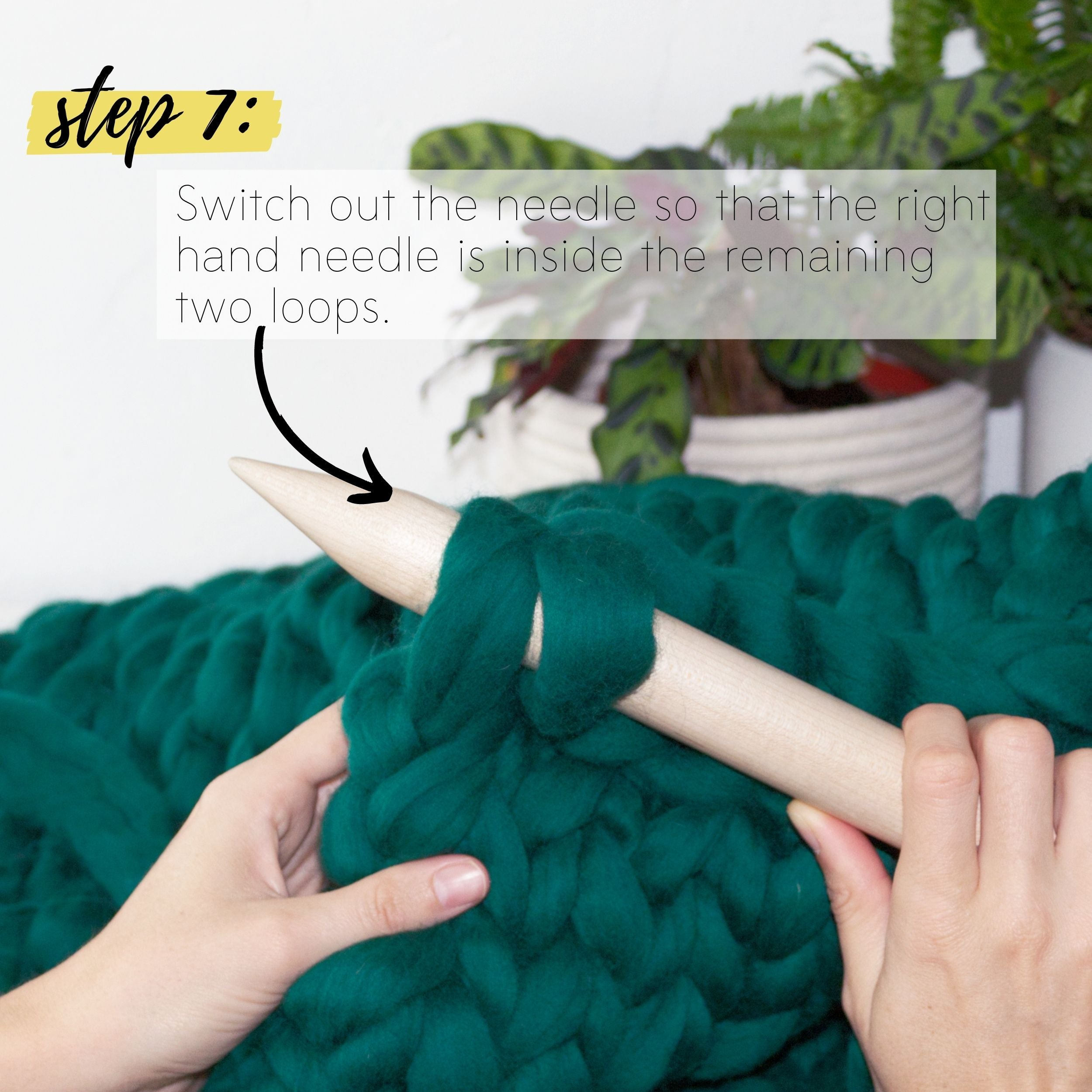 How to make a DIY chunky knit blanket, step 7