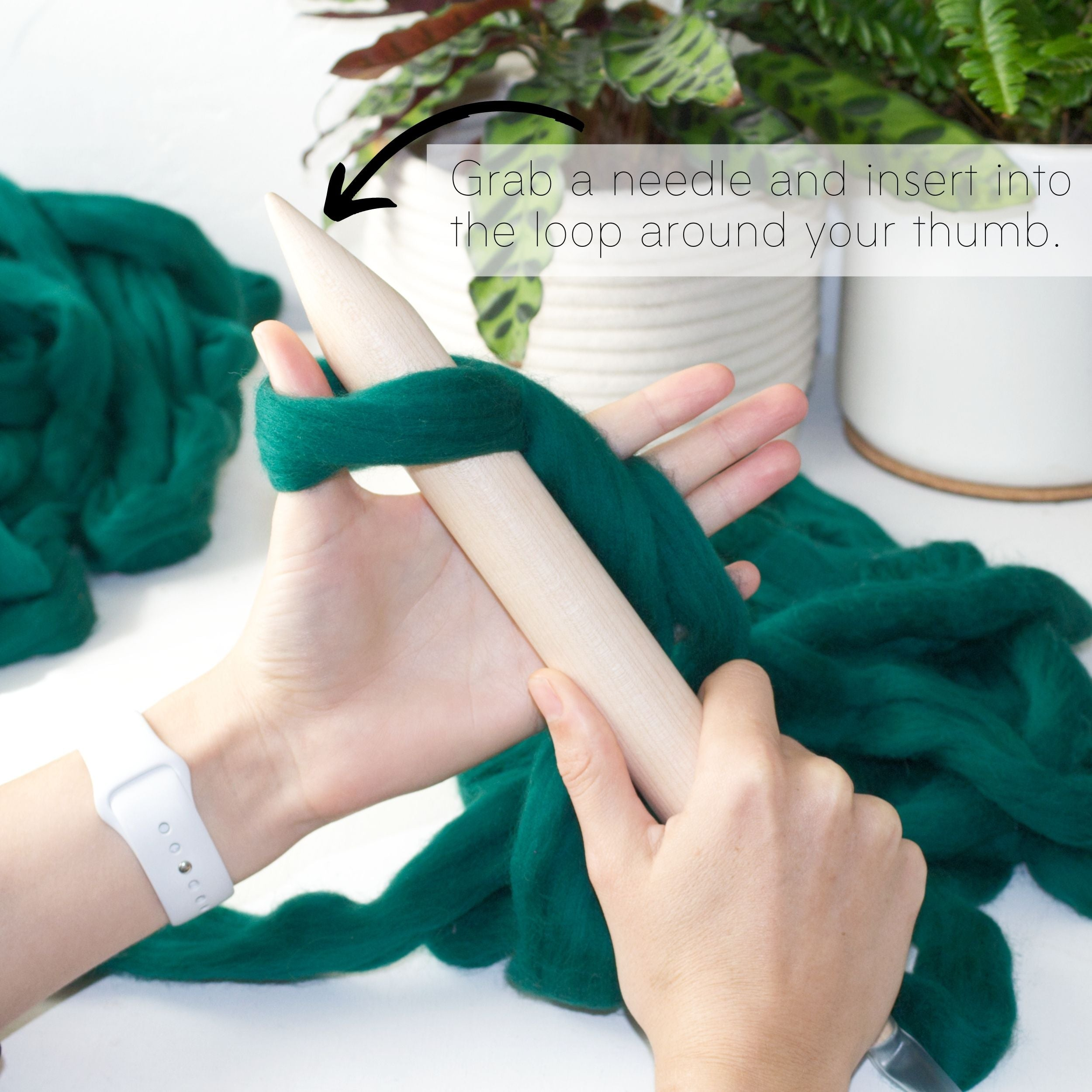 How to make a DIY chunky knit blanket, step 2.2