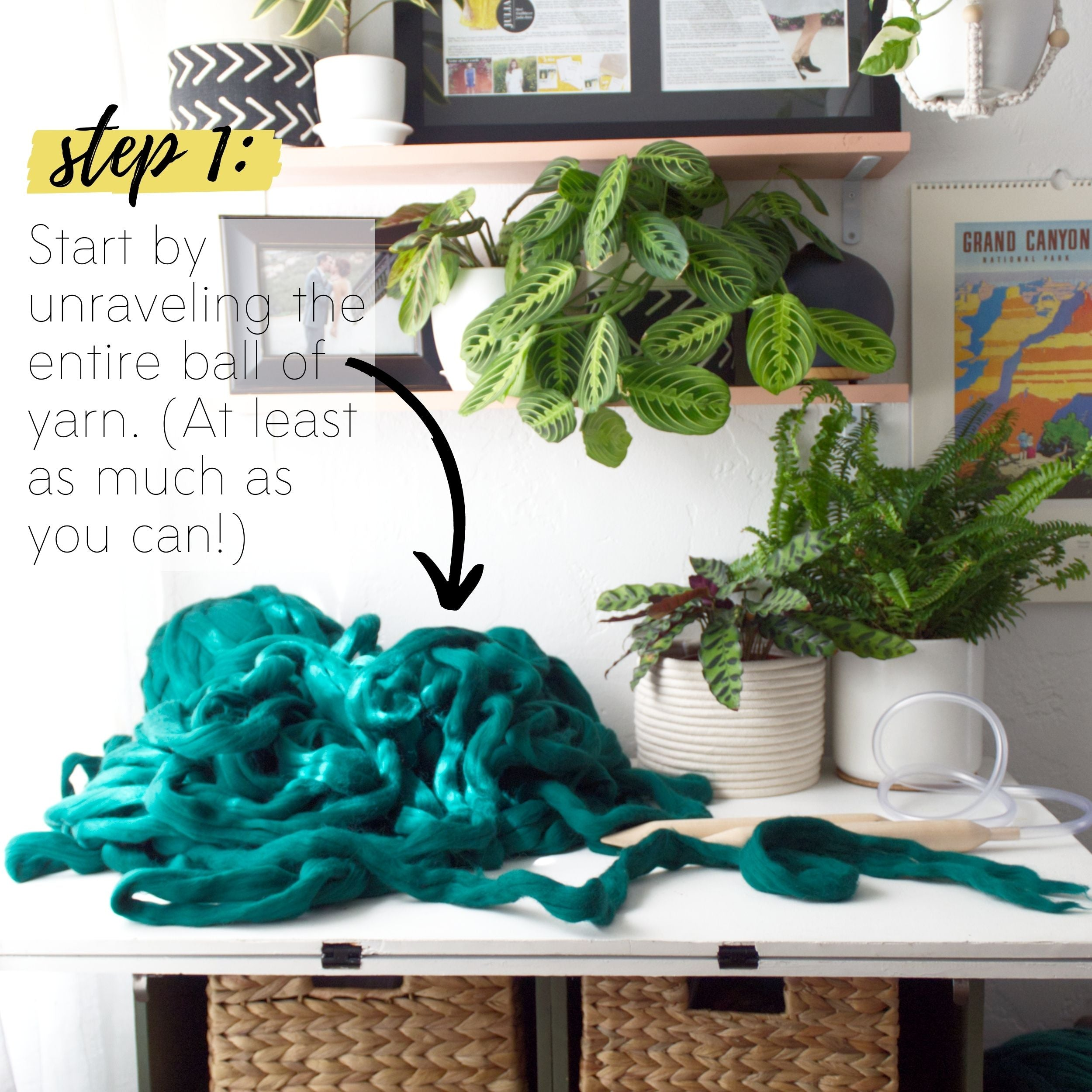 How to make a DIY chunky knit blanket, step 1