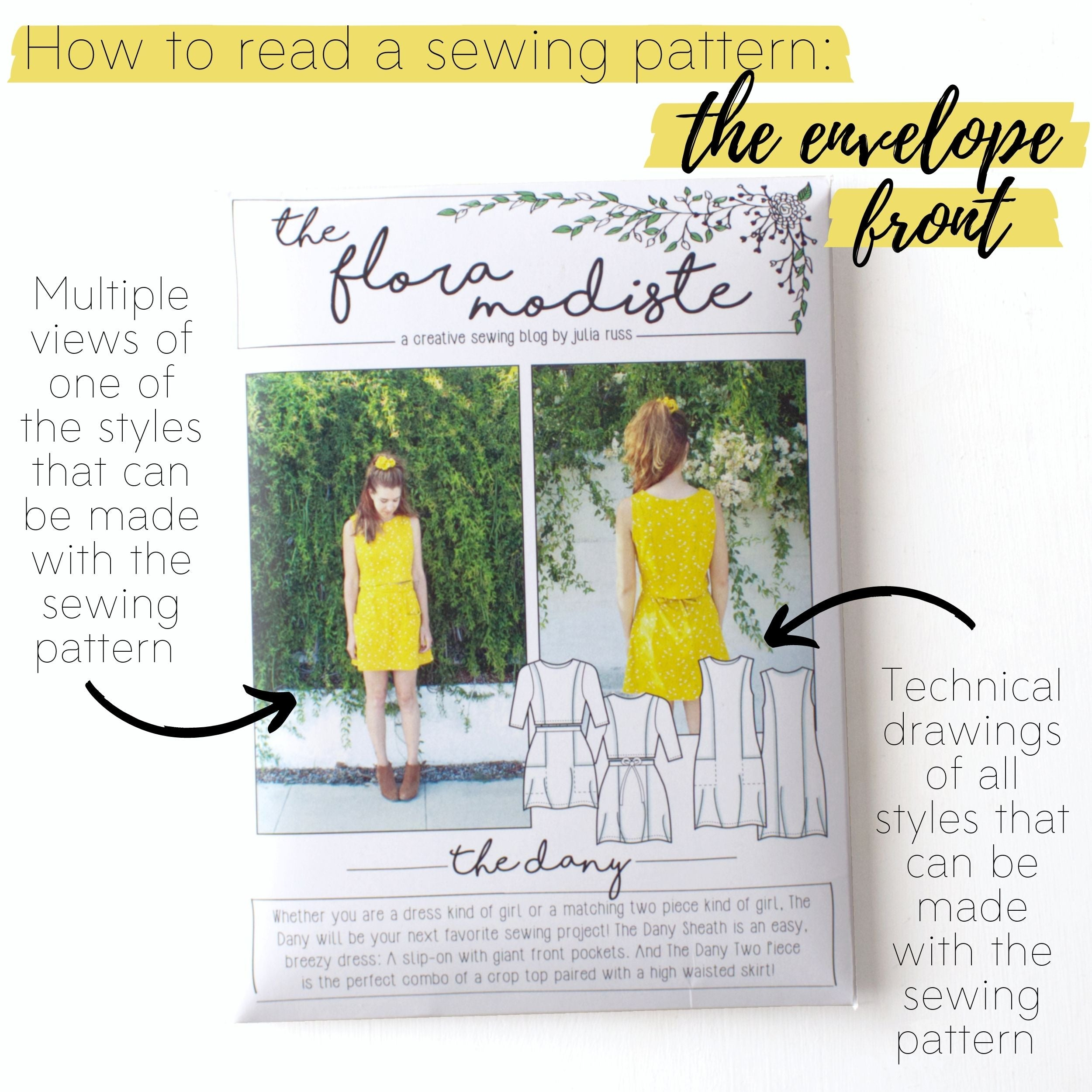 How to read a sewing pattern: The envelope front