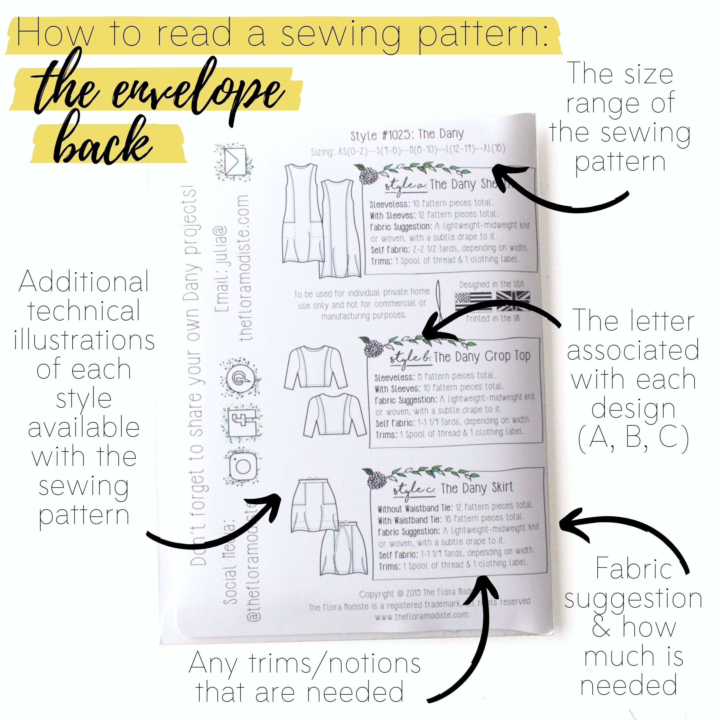 How to read a sewing pattern: The envelope back