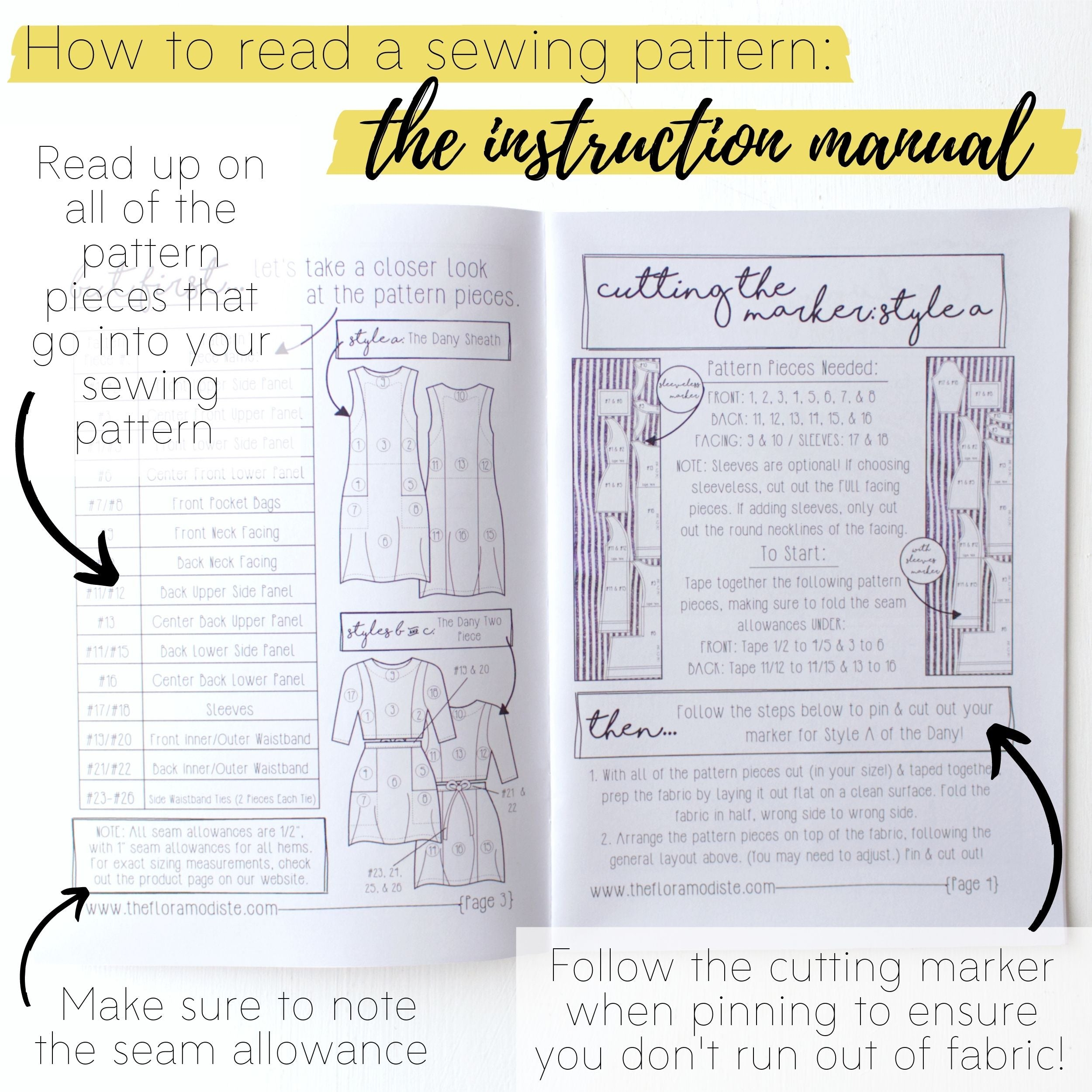 How to read a sewing pattern: The instruction manual