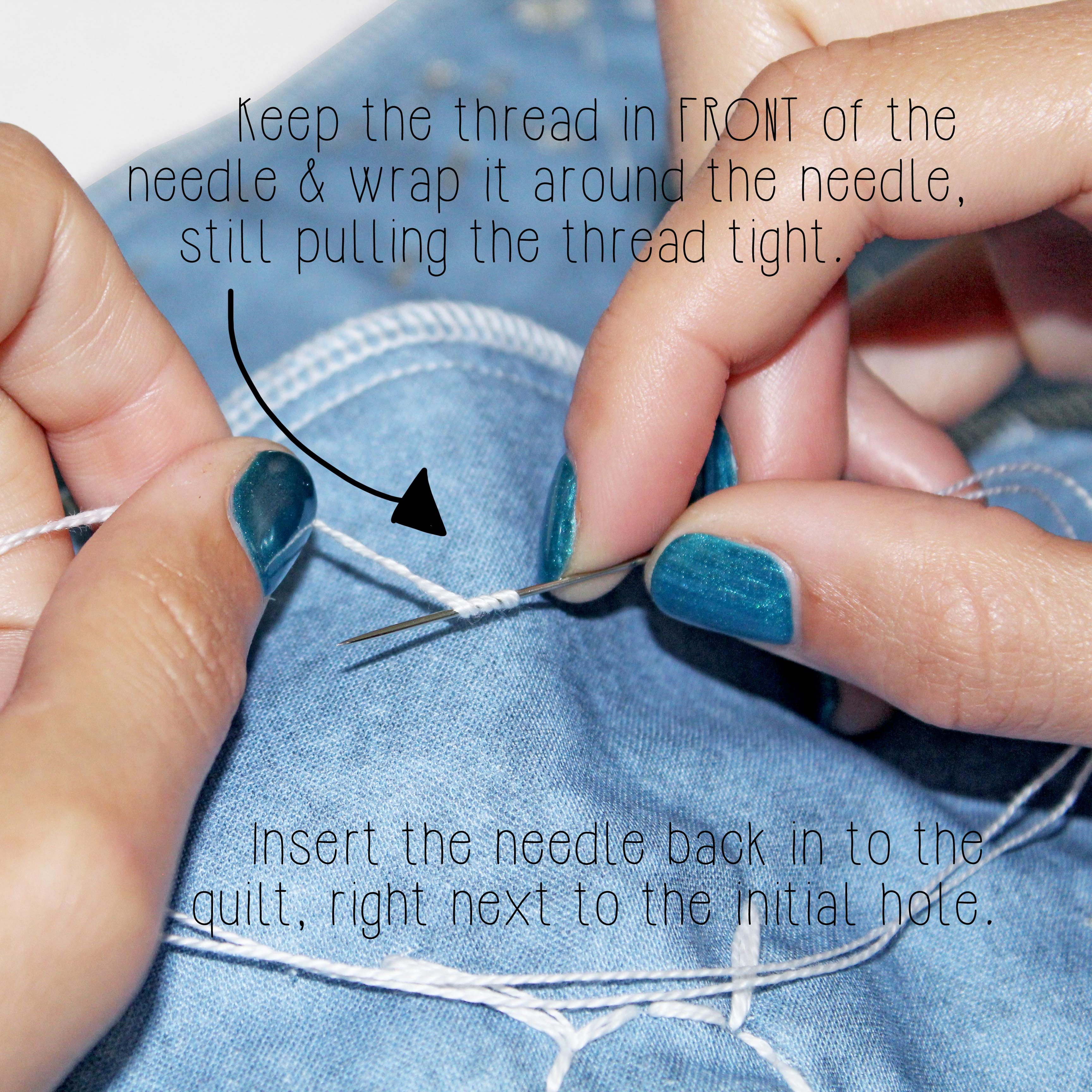 Quilting For Beginners Embroidery Stitches Tutorial French Knot Step 2