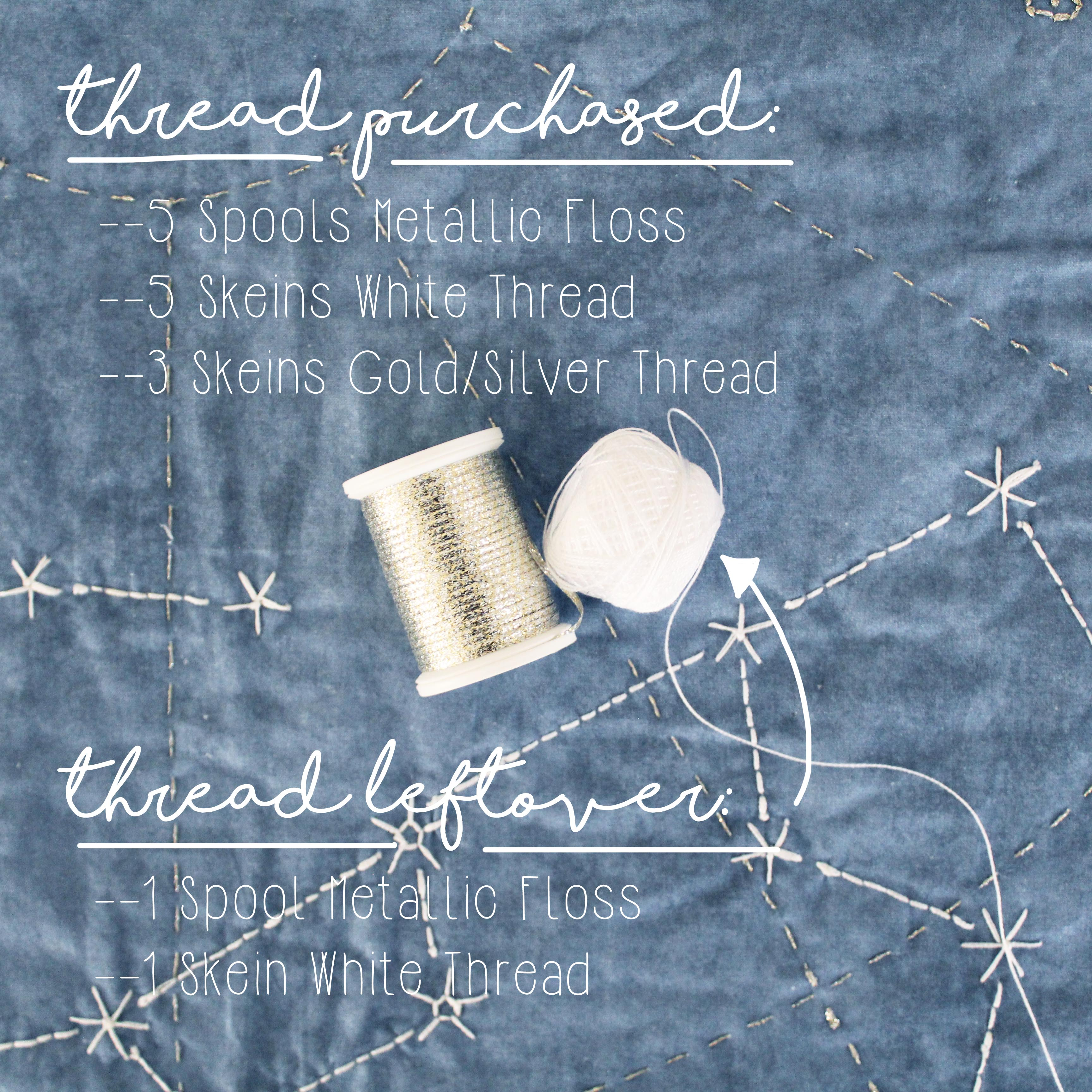 Quilting For Beginners: DIY Constellation Quilt Tips & Tricks Thread Purchased & Leftover