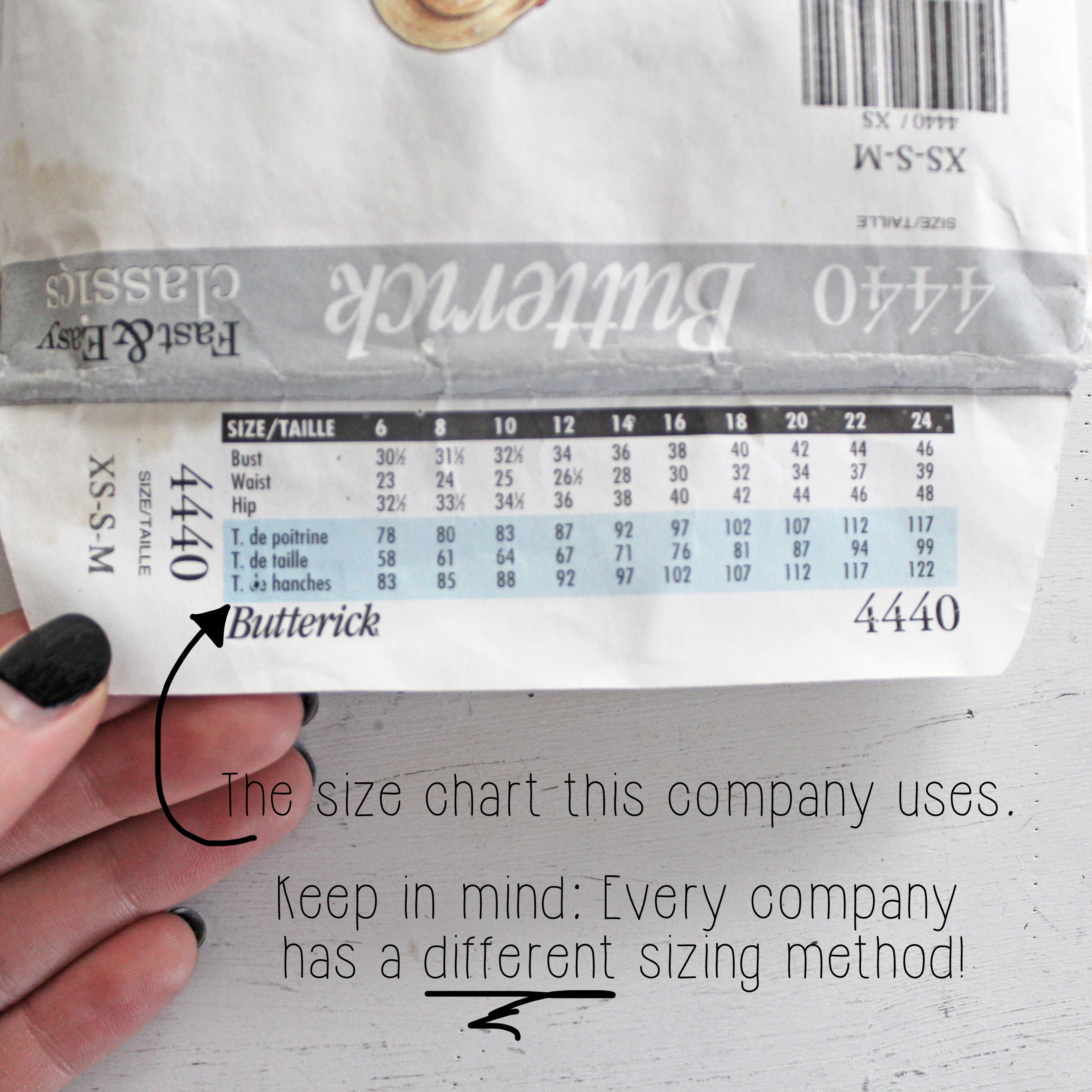 How To Read A Sewing Pattern Back Envelope Sizing Chart