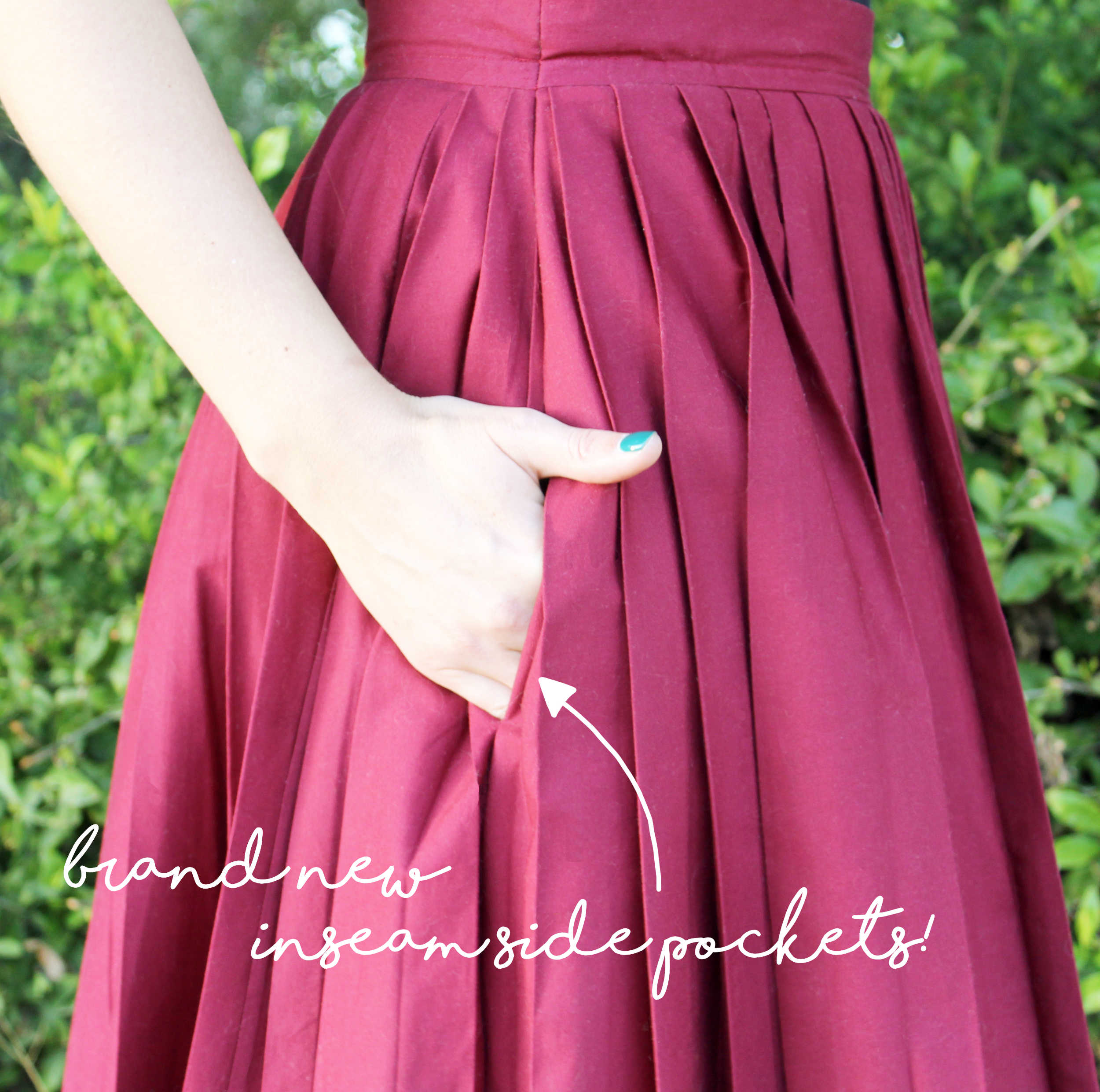 The Emma Skirt & How To Sew Pleats: Side Pocket Close Up