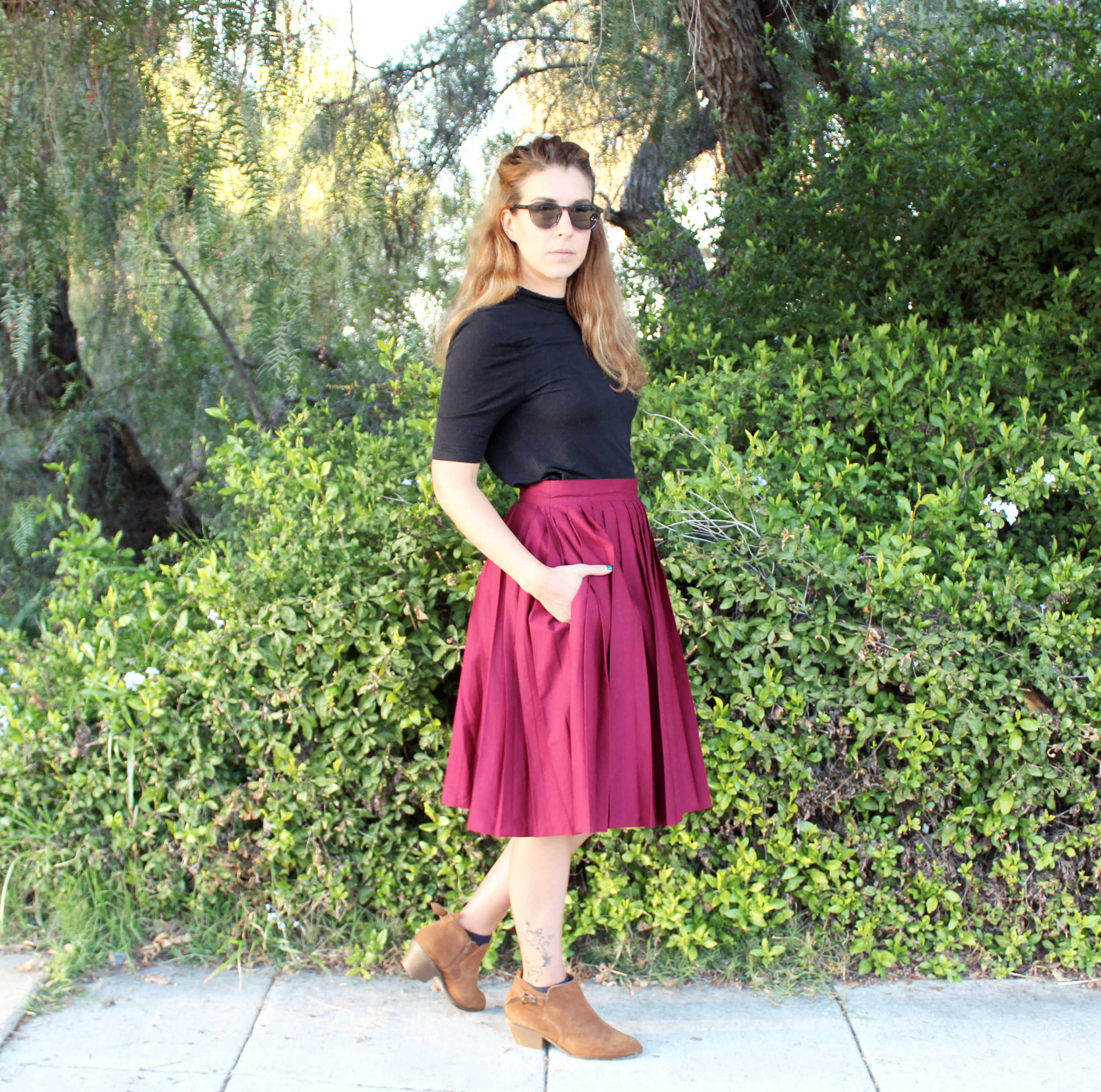 The Emma Skirt & How To Sew Pleats: Full Side View