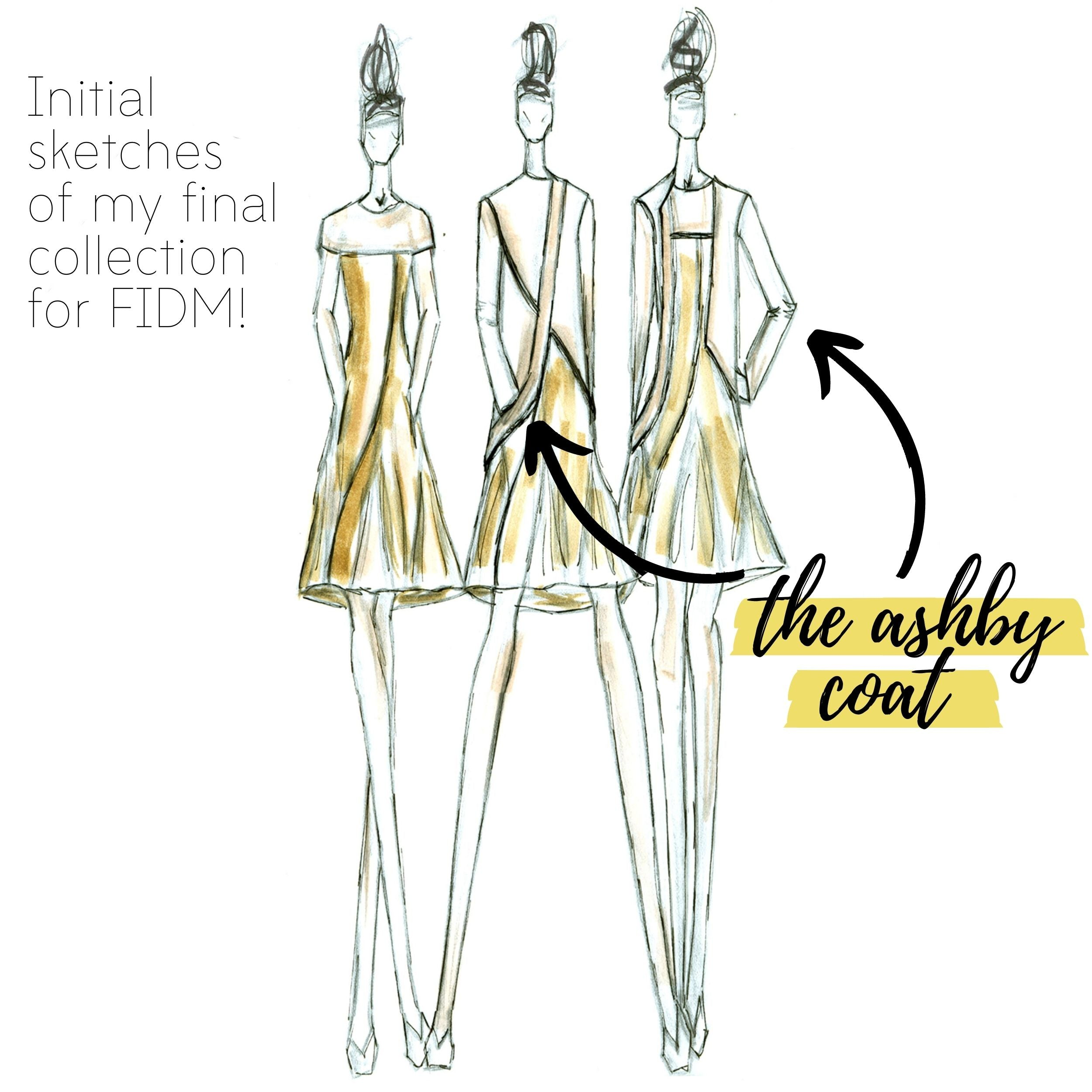 The Ashby Coat Sewing Project FIDM Original Sketches