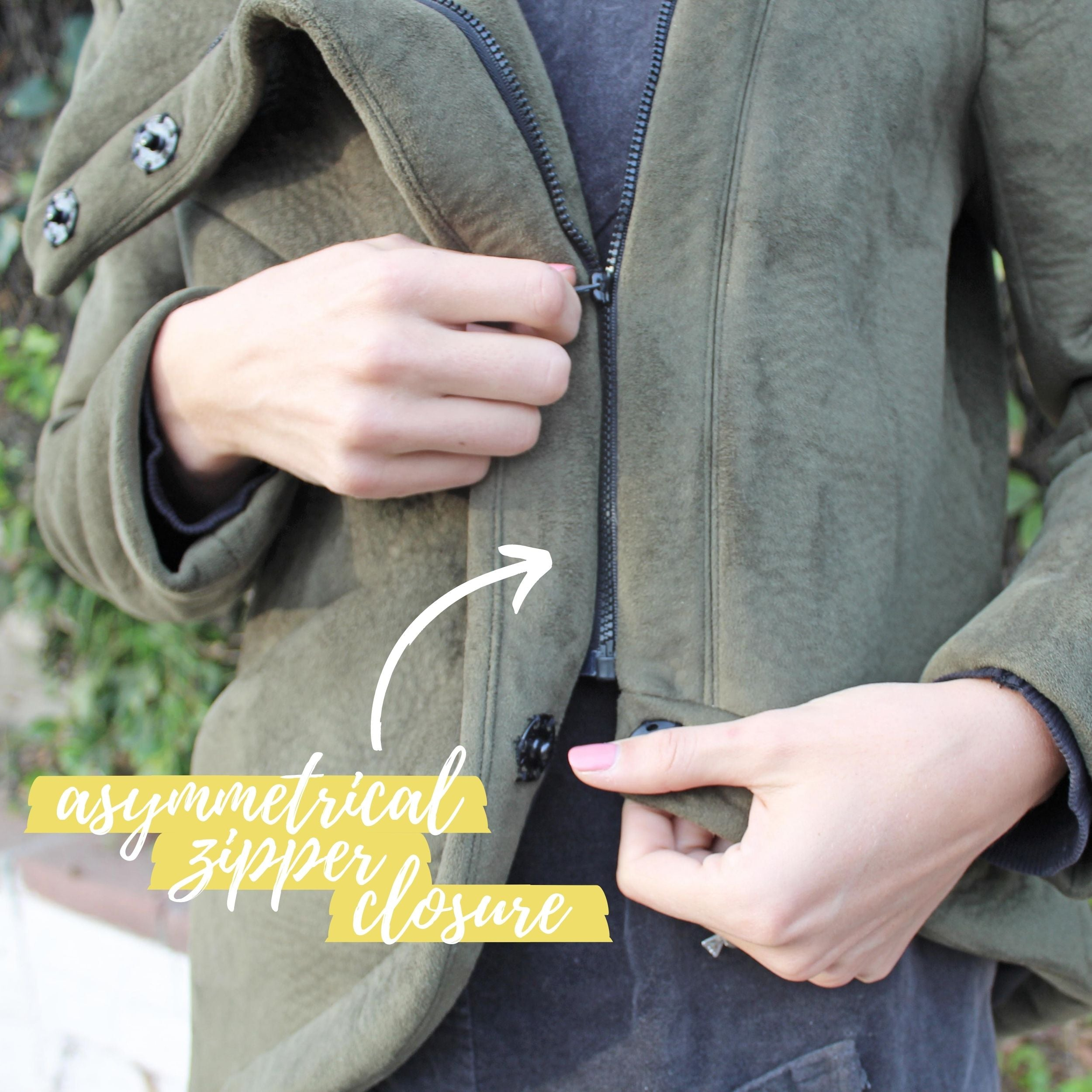 The Ashby Coat Sewing Project Zipper Snaps Close Up