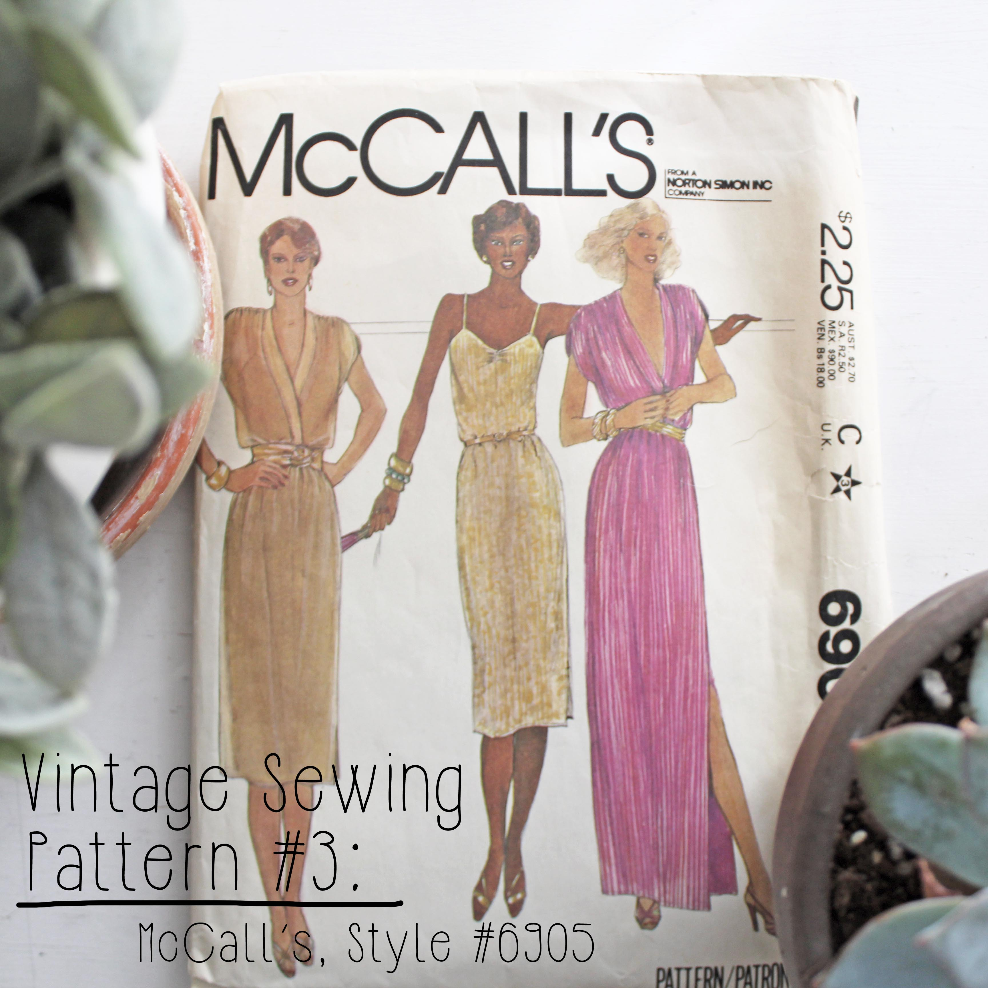 Vintage Sewing Pattern 3 McCall's Style #6905