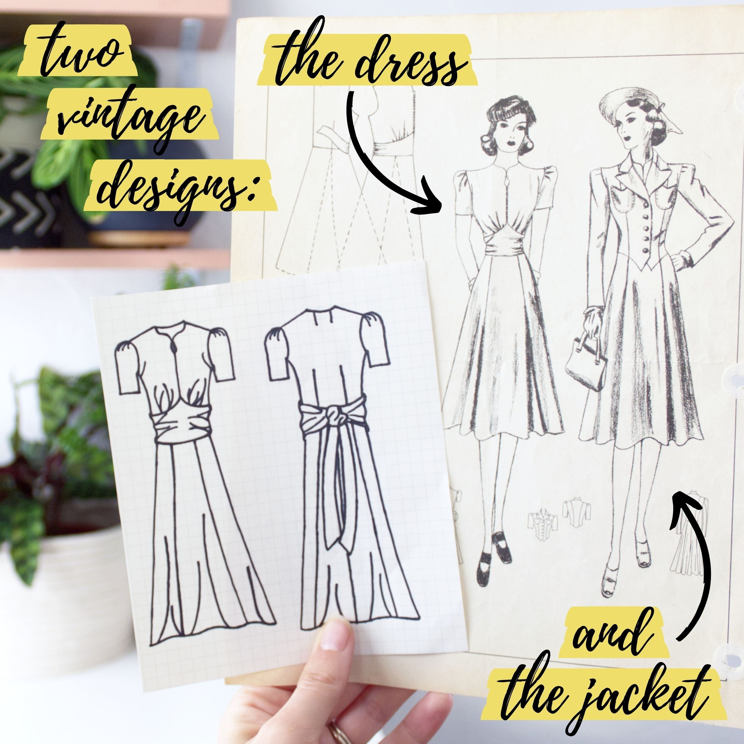 Two vintage sewing pattern designs: The dress & matching jacket