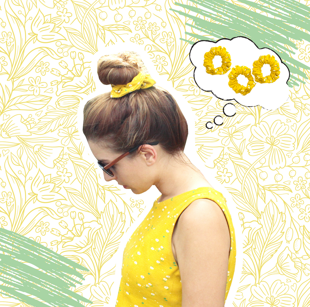 The Sunny Daisies organic cotton knit scrunchie