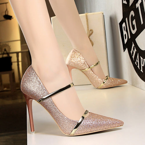Bling Pumps Thin Heels
