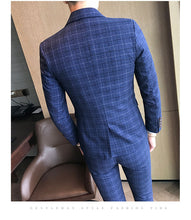 Load image into Gallery viewer, Three-piece Male Formal Plaids Suit