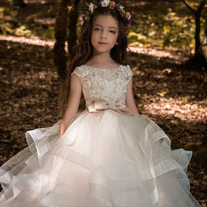 Elegant Champagne Flower Girl Dress