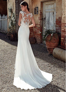 Appliqued Lace Wedding Dress