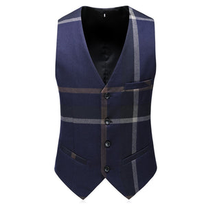 Fashion Plaid Designs Lapel Men Suit