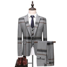 Load image into Gallery viewer, Fashion Plaid Designs Lapel Men Suit