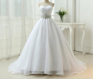 Strapless Lace Up Wedding Dress