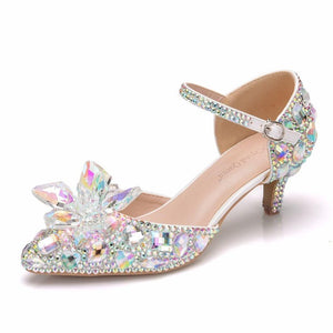 Ankle Strap Rhinestone Buckle Shoes