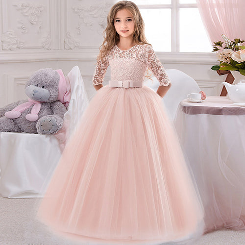 Elegant Flower Girl's Long Sleeve Lace Dress