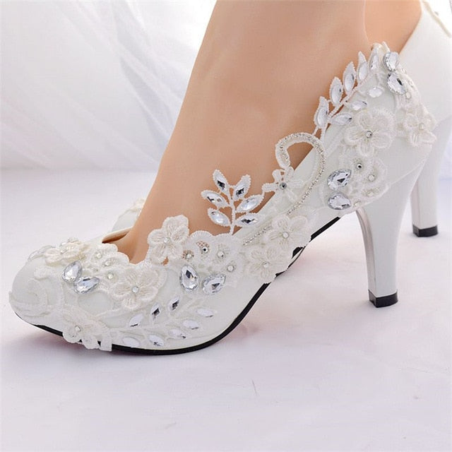White Crystal Diamond Shoes