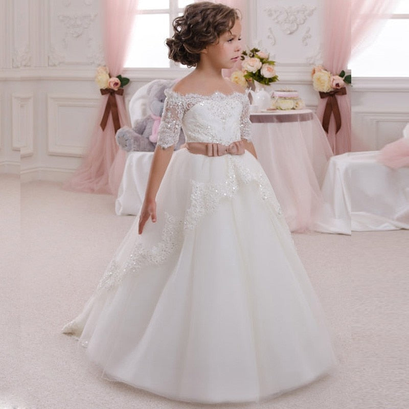 Full Length White Ivory Lace Flower Girls Dress