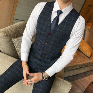 Three-piece Male Formal Plaids Suit