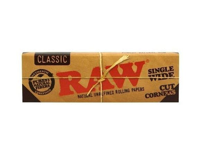 RAW Classic Single Wide Cut Corners Rolling Papers - Zootalicious