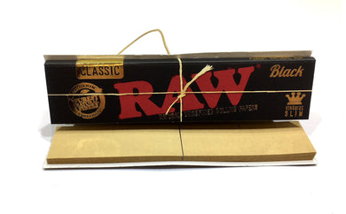 RAW BLACK Classic Connoisseur King Size Slim Rolling Papers & Tips - Zootalicious