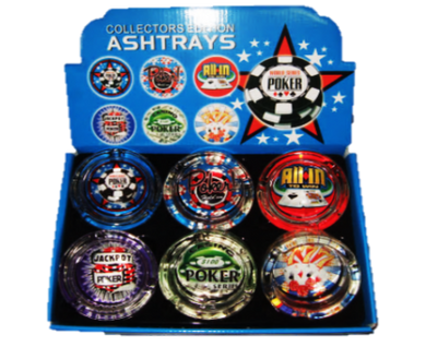 Poker Design Glass Ashtrays - Zootalicious