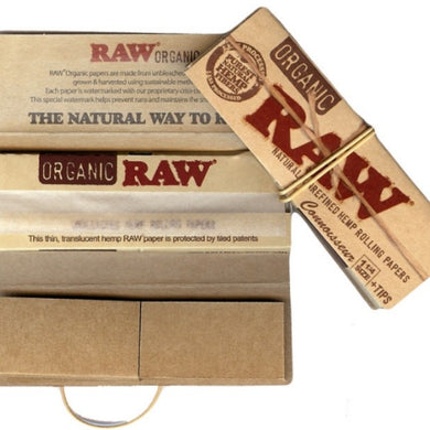 RAW Organic Hemp Connoisseur 1 1/4 Size Rolling Papers with Tips - Zootalicious