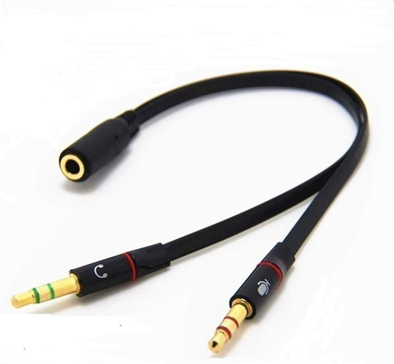 Gold Plated 2 Male to 1 Female 3.5mm Headphone Earphone Mic Audio Y Splitter Flat Cable Cord Wire for PC Laptop