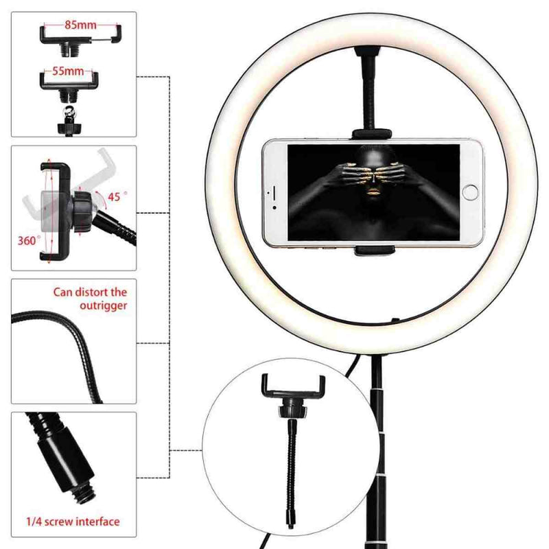 Fosoto FT-G1 LED Ring Light Dimmable Video Light Selfie USB Ring Light 1.68m Photography Light Foldable Makeup Tripod