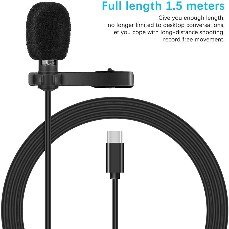 USB Type C Microphone with Type C Connector, Mini Clip Condenser Microphone with Type C Connector for Android Phones, 1.5m