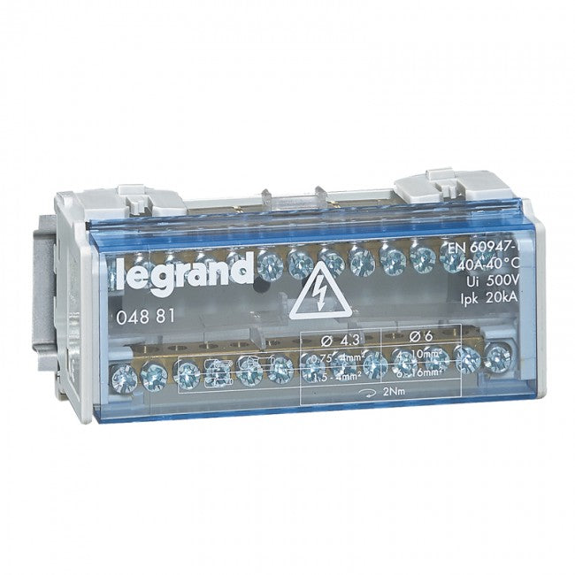 Legrand Monobloc modular distribution block - 2P - 40 A - 13 connections