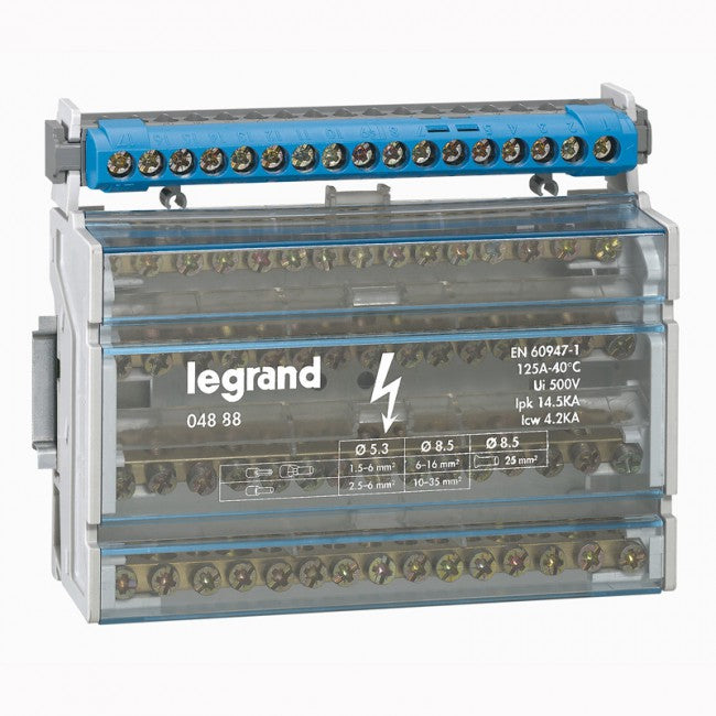 Legrand Monobloc modular distribution block - 4P - 125 A - 15 connections