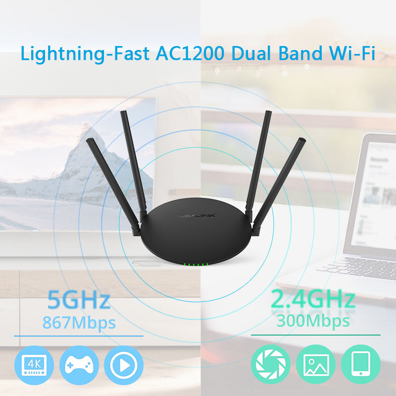 Wavlink Quantum D4H – AC1200 Wireless Dual-band High Power Smart Wi-Fi Router