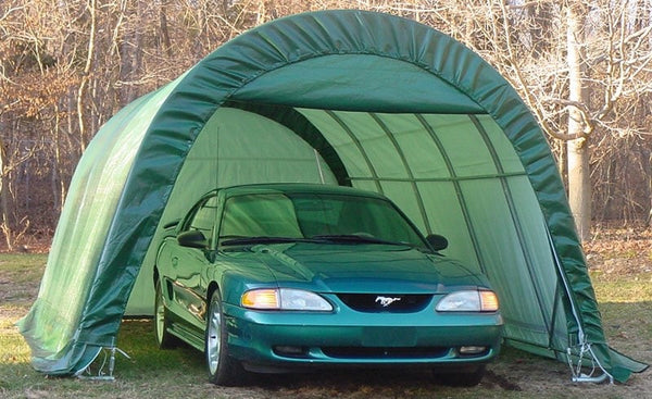 car stored in a portable garage