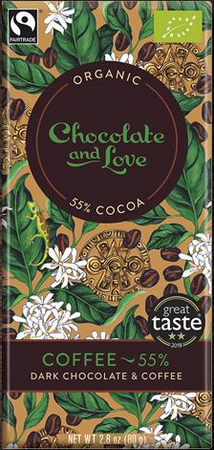 CHOCOLATE AND LOVE DARK CHOCOLATE WITH ARABICA COFFEE (55%)