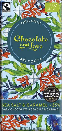 CHOCOLATE AND LOVE DARK CHOCOLATE WITH CARAMEL & SEA SALT (55%)