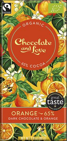 CHOCOLATE AND LOVE DARK CHOCOLATE WITH ORANGE EXTRACT (65%)