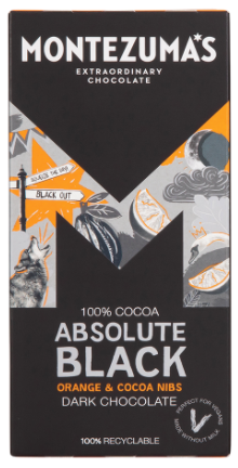 MONTEZUMA'S ABSOLUTE BLACK WITH ORANGE & COCOA NIBS 100% 90G