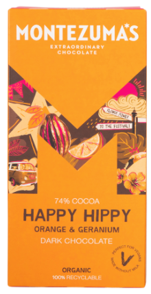 MONTEZUMA'S HAPPY HIPPY 74% DARK CHOCOLATE WITH ORANGE & GERANIUM 90G
