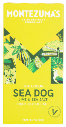 MONTEZUMA'S SEA DOG 70% DARK CHOCOLATE WITH LIME & SEA SALT 90G