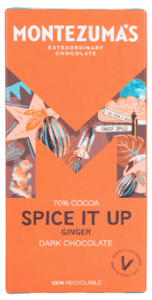 MONTEZUMA'S SPICE IT UP 70% DARK CHOCOLATE WITH FIERY GINGER 90G