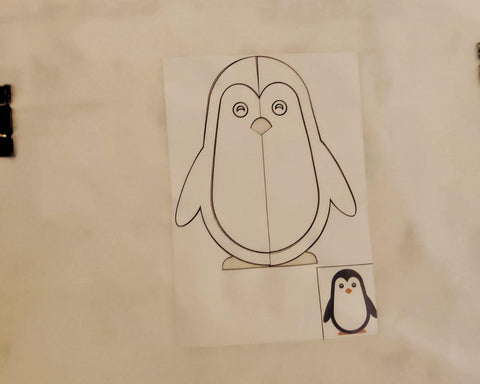 sticker stencil painting penguin