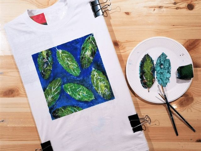 super beginner art jamming ideas leaf painting stencilling