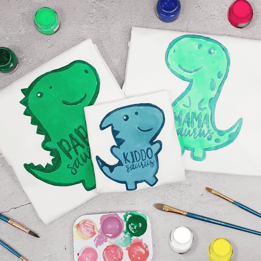 Dinosaur Family of 3 T-Shirt Painting Kit